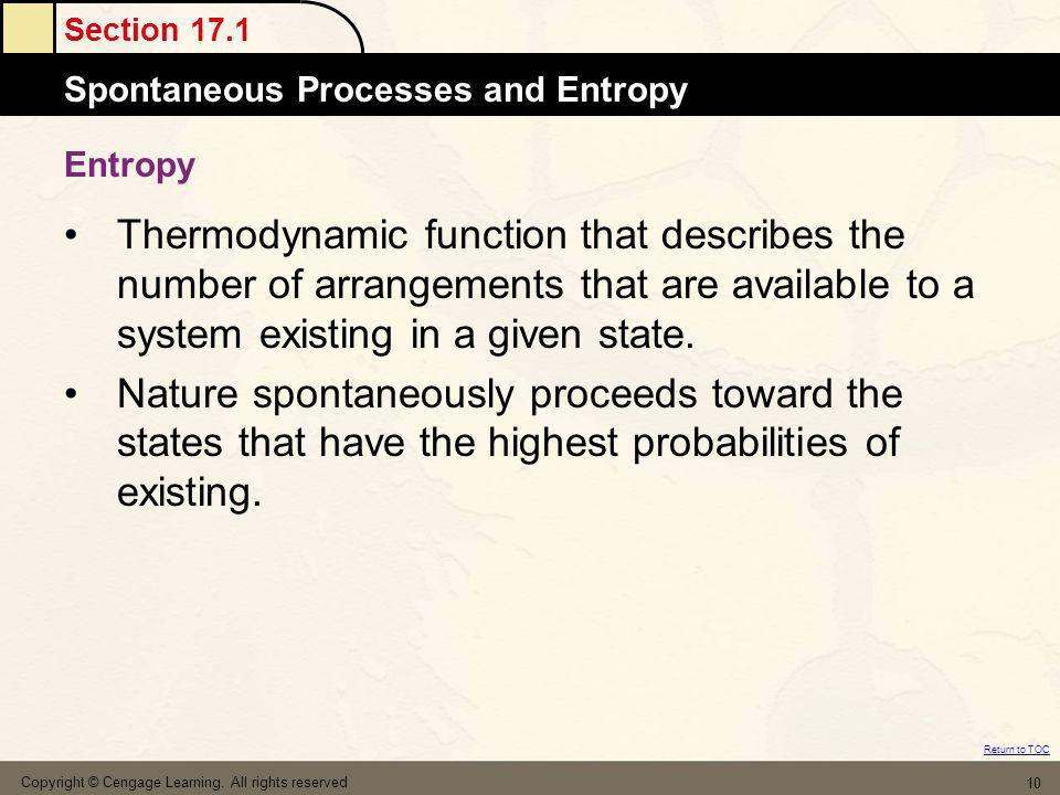 Entropy Thermodynamic function that describes the number of arrangements that are available to a system existing in a given state.