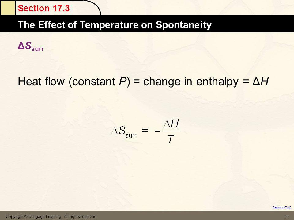 Heat flow (constant P) = change in enthalpy = ΔH