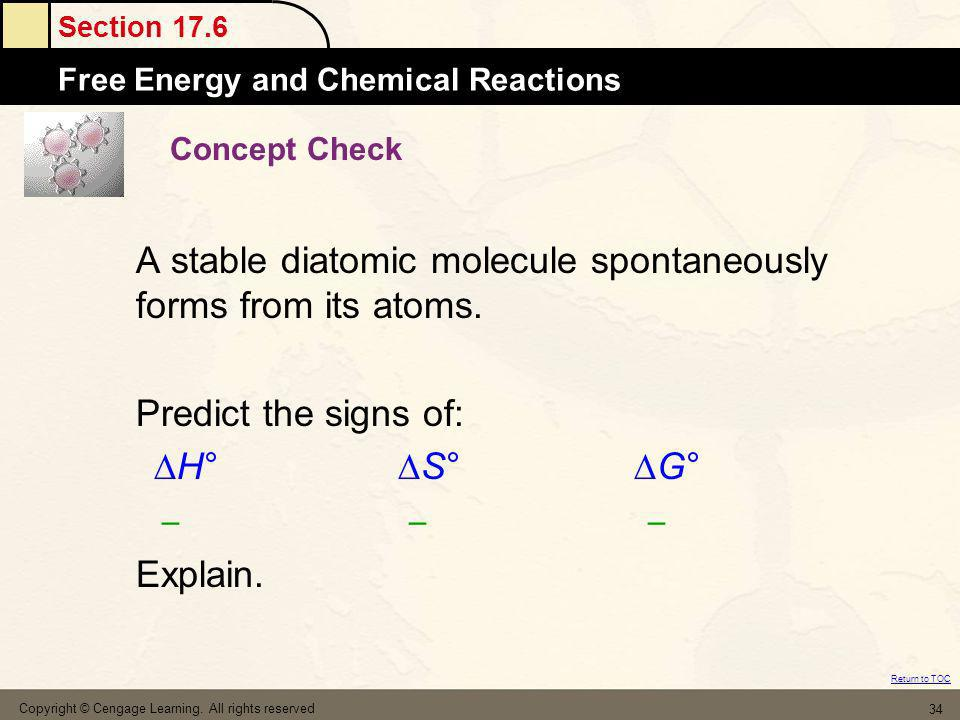 A stable diatomic molecule spontaneously forms from its atoms.