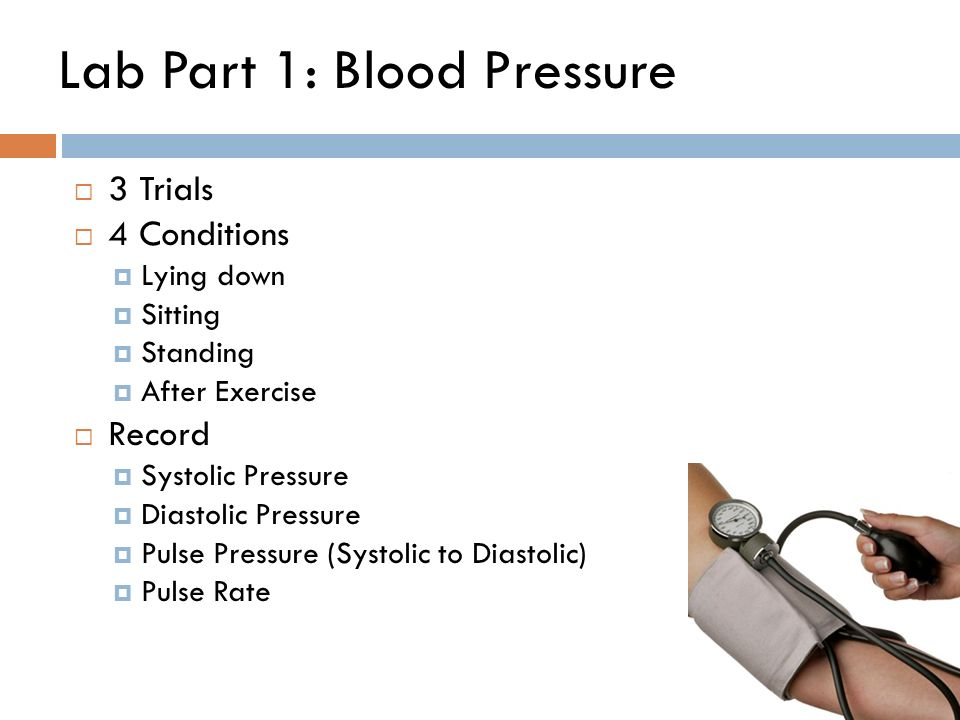 measurement of lying and standing blood pressure The patients had their blood pressure measured while lying on a tilting table,  which mimics standing up and exerts a strain on the blood.