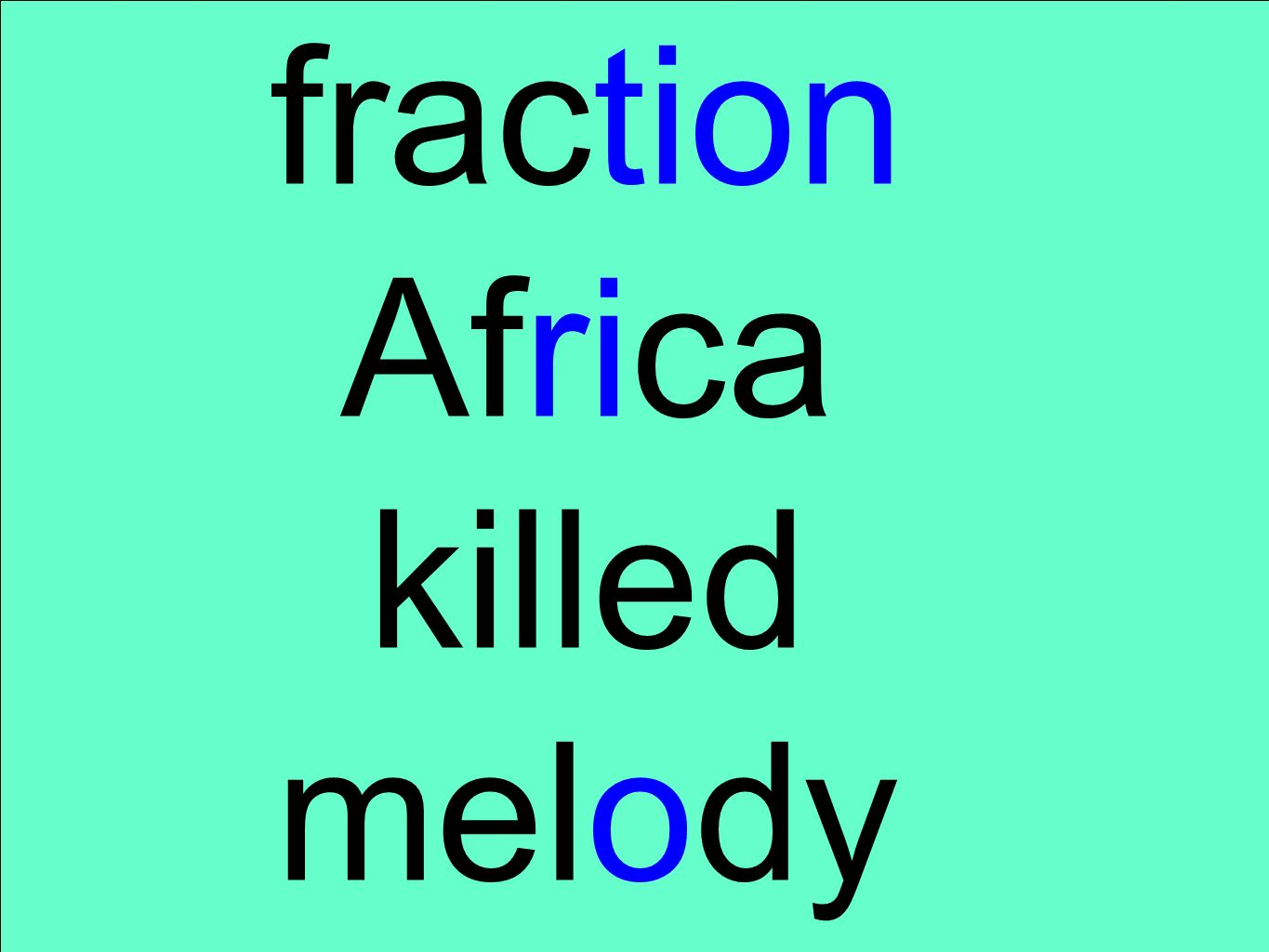 fraction Africa killed melody