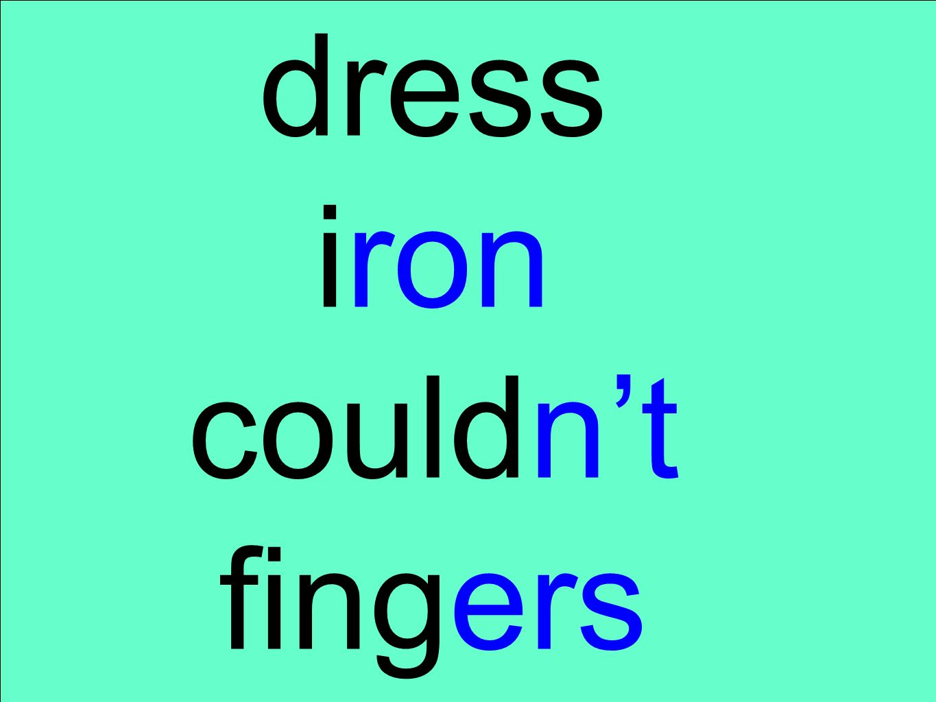 dress iron couldn't fingers