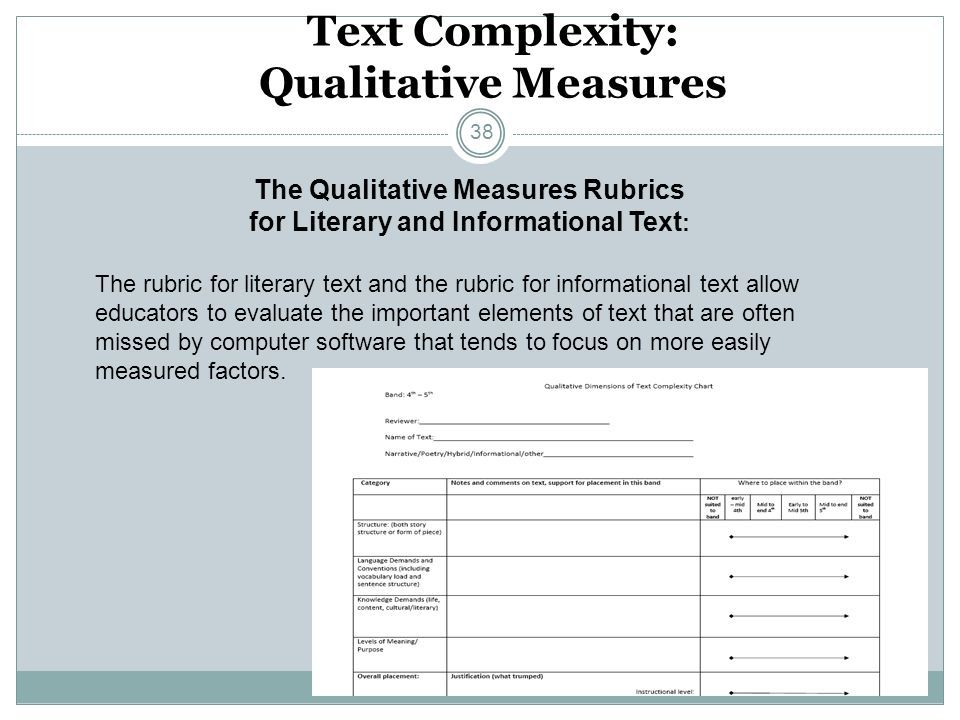 Text Complexity: Qualitative Measures