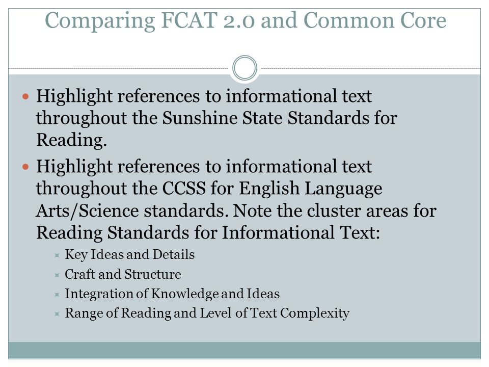 Comparing FCAT 2.0 and Common Core
