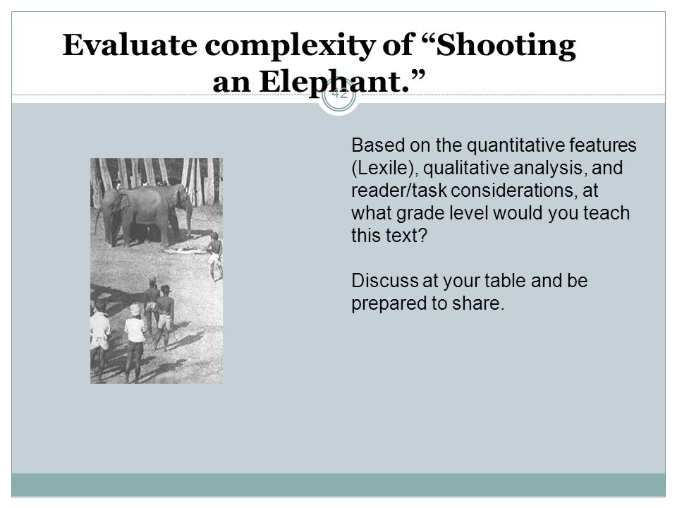 Evaluate complexity of Shooting an Elephant.