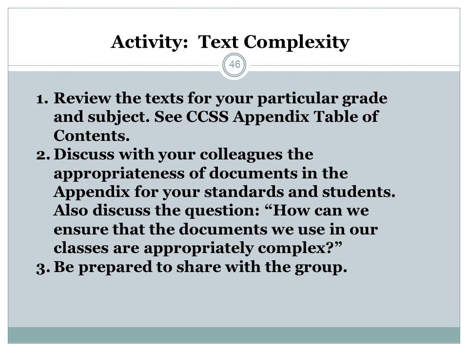 Activity: Text Complexity