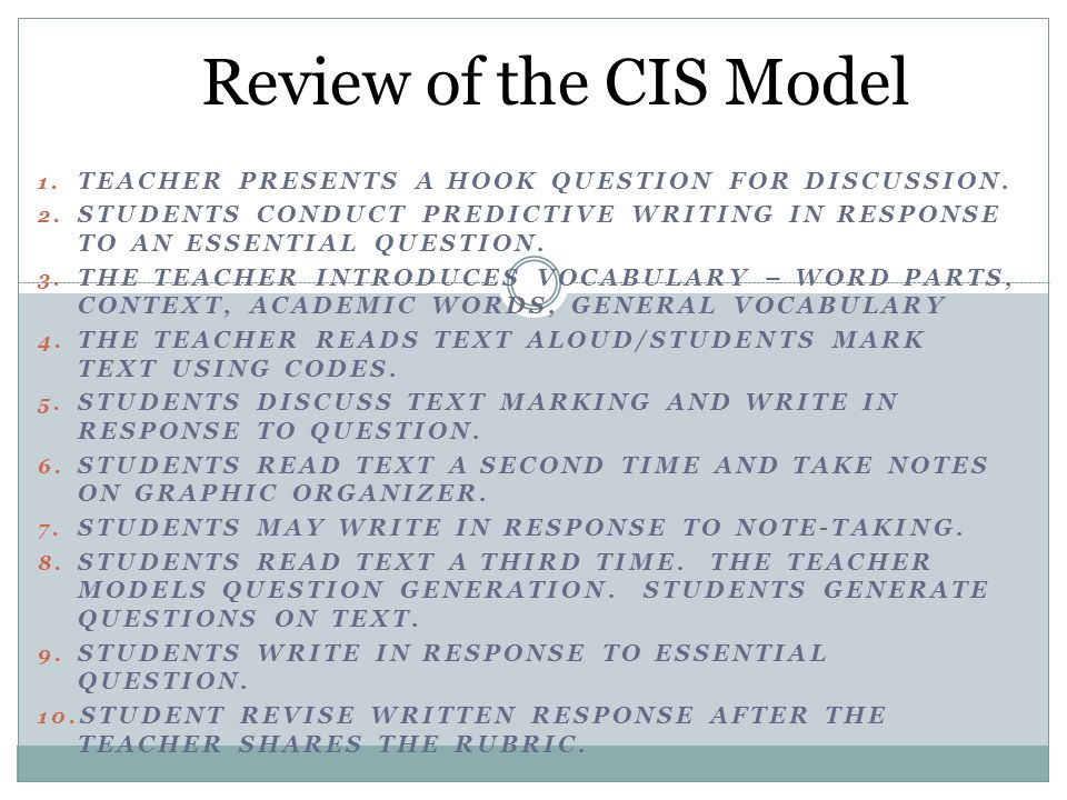 Review of the CIS Model Teacher presents a Hook Question for discussion. Students conduct predictive writing in response to an essential question.