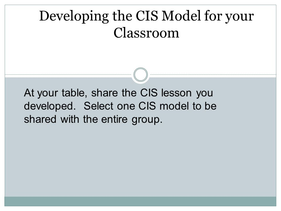 Developing the CIS Model for your Classroom