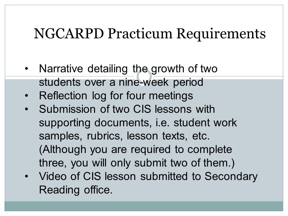 NGCARPD Practicum Requirements