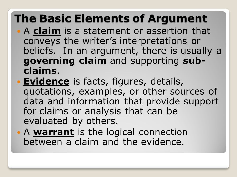 The Basic Elements of Argument