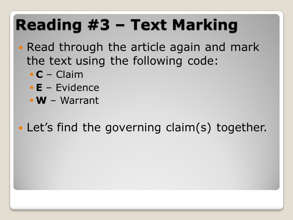 Reading #3 – Text Marking
