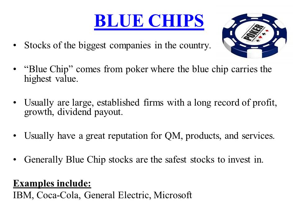 blue chip companies Blue-chip definition: 1 a blue-chip company or investment is one that can be  trusted and is not likely to fail2 (of a company) considered to be a safe  investment.