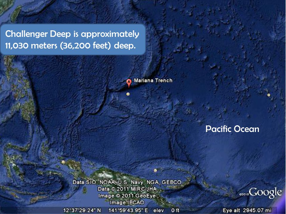 Challenger Deep is approximately 11,030 meters (36,200 feet) deep.
