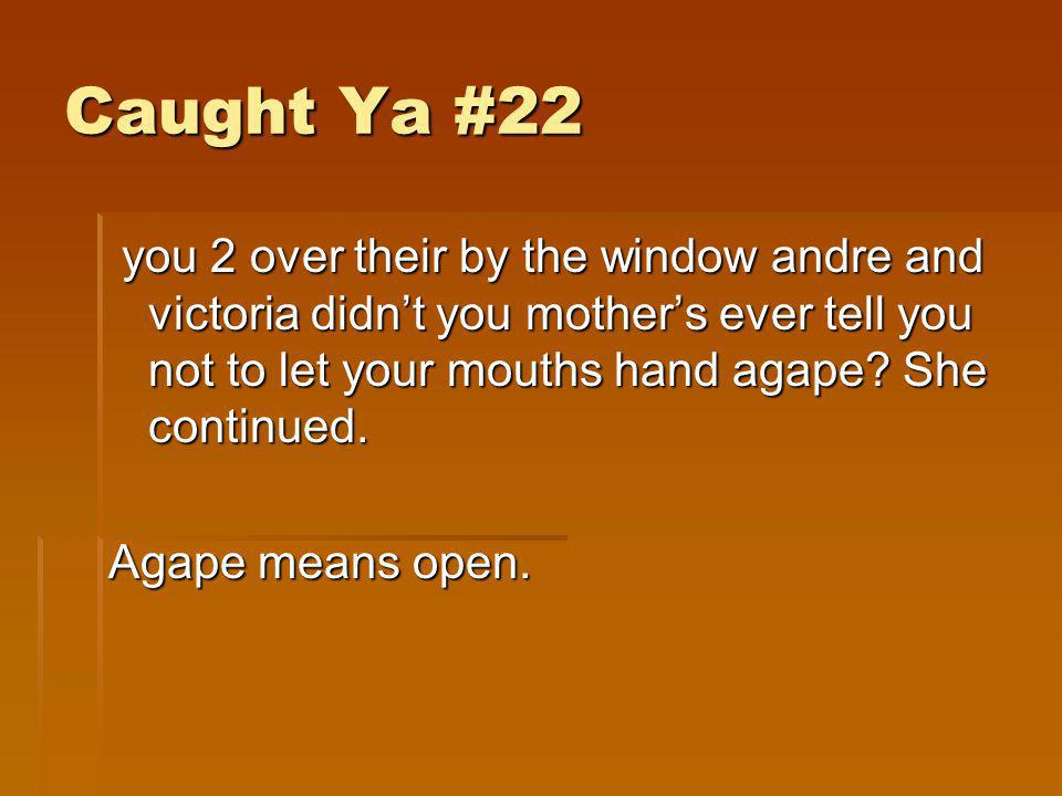 Caught Ya #22 you 2 over their by the window andre and victoria didn't you mother's ever tell you not to let your mouths hand agape She continued.