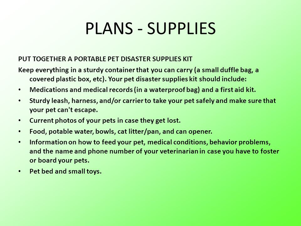 PLANS - SUPPLIES PUT TOGETHER A PORTABLE PET DISASTER SUPPLIES KIT
