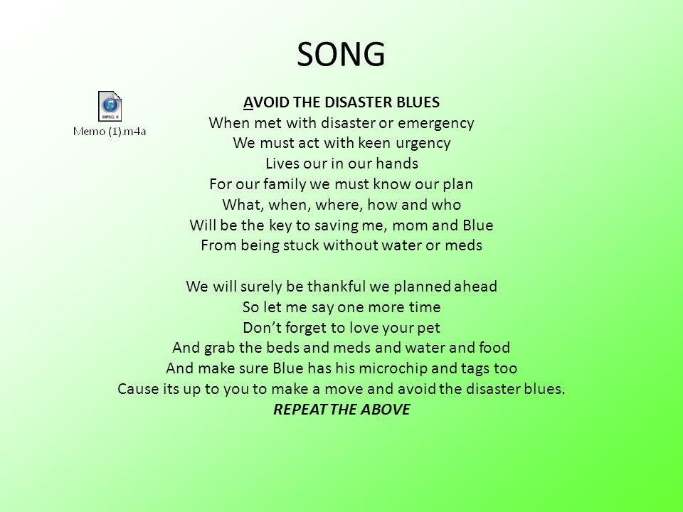 SONG AVOID THE DISASTER BLUES When met with disaster or emergency We must act with keen urgency Lives our in our hands For our family we must know our plan What, when, where, how and who Will be the key to saving me, mom and Blue From being stuck without water or meds We will surely be thankful we planned ahead So let me say one more time Don't forget to love your pet And grab the beds and meds and water and food And make sure Blue has his microchip and tags too Cause its up to you to make a move and avoid the disaster blues. REPEAT THE ABOVE