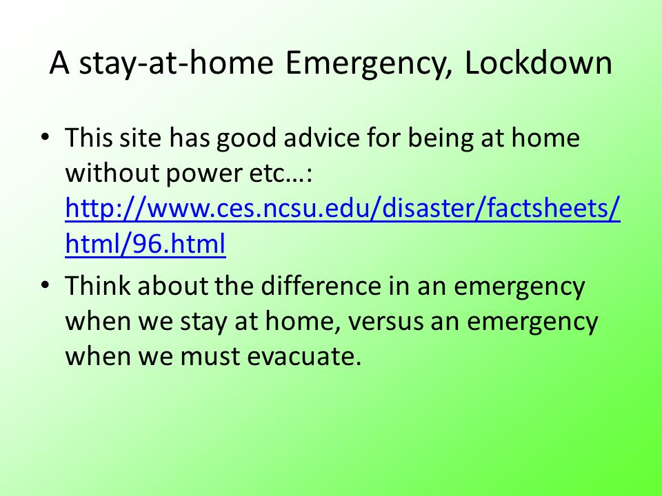 A stay-at-home Emergency, Lockdown