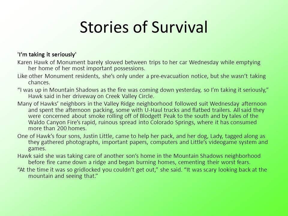 Stories of Survival I'm taking it seriously