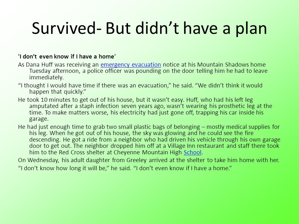 Survived- But didn't have a plan