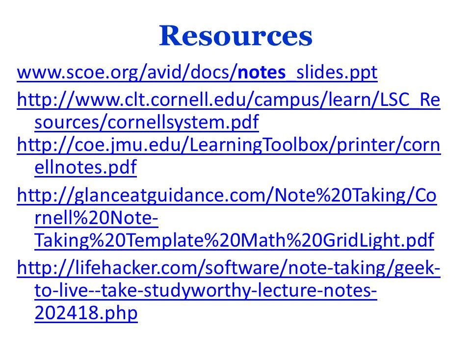Resources www.scoe.org/avid/docs/notes_slides.ppt