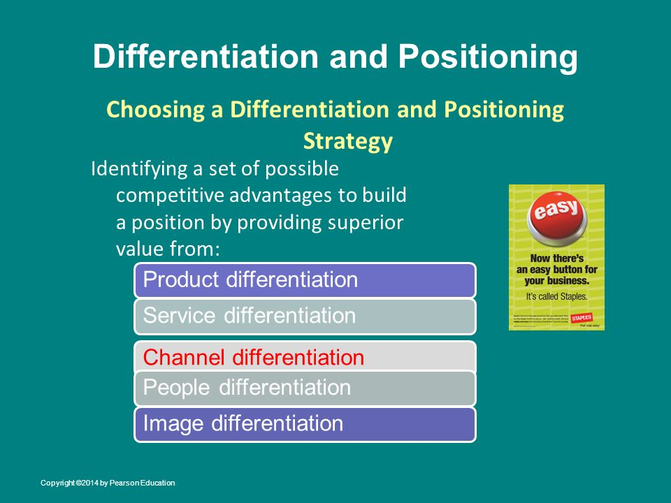 identify the positioning and differentiation strategies for the product or service Product differentiation is a marketing process that showcases the differences between products differentiation looks to make a product more attractive by contrasting its unique qualities with other competing products successful product differentiation creates a competitive advantage for the product's seller, as customers view these products as.