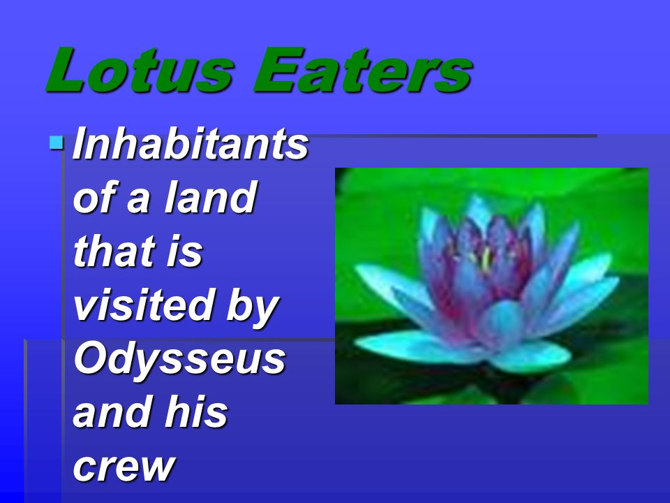 Lotus Eaters Inhabitants of a land that is visited by Odysseus and his crew