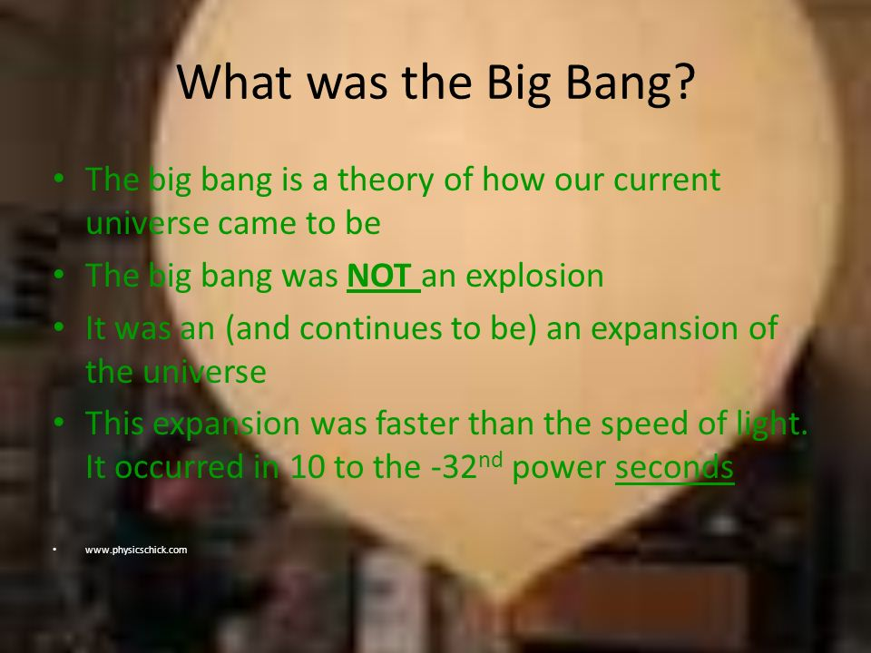What was the Big Bang The big bang is a theory of how our current universe came to be. The big bang was NOT an explosion.