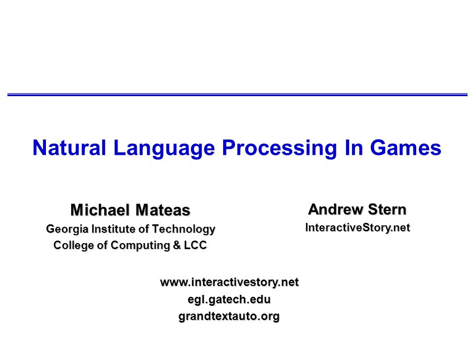 Natural Language Processing In Games
