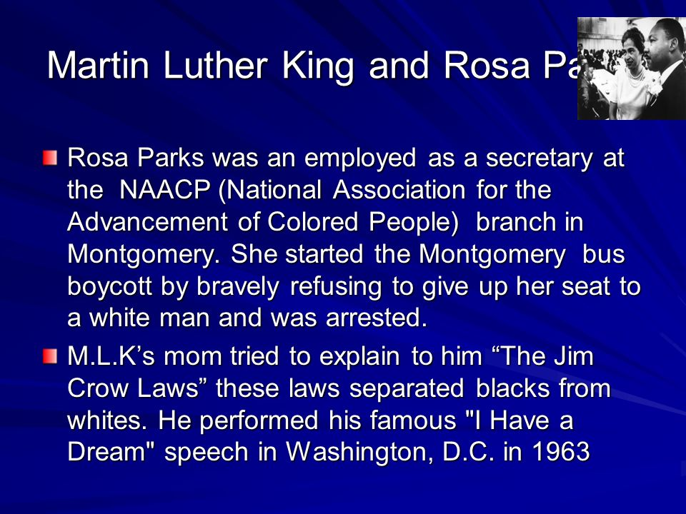 Martin Luther King and Rosa Parks