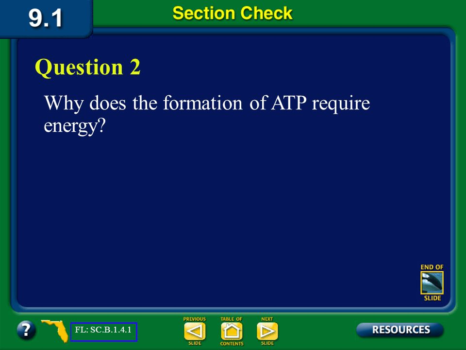 Question 2 Why does the formation of ATP require energy