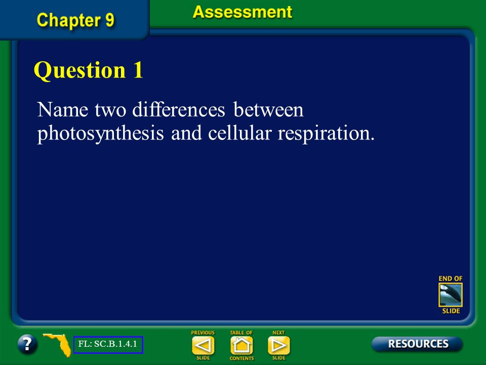 Question 1 Name two differences between photosynthesis and cellular respiration.