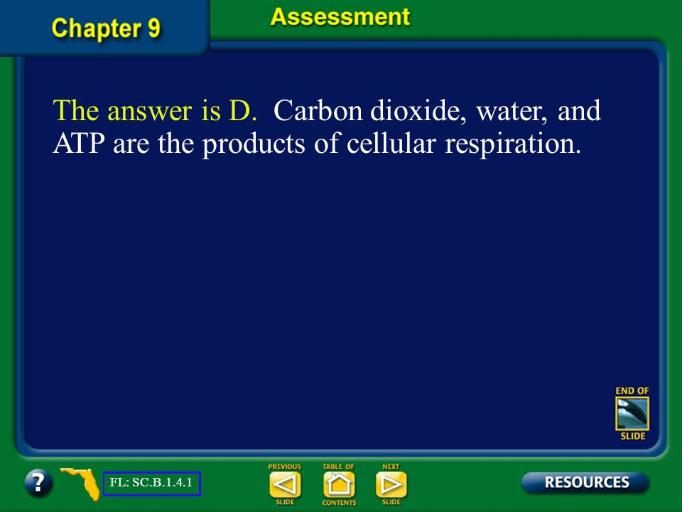 The answer is D. Carbon dioxide, water, and ATP are the products of cellular respiration.