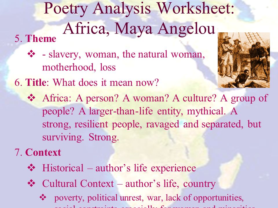 africa by maya angelou analysis See maya at the milion man march  the black family pledge because we have forgotten our ancestors,  maya angelou read the following at the million man march.