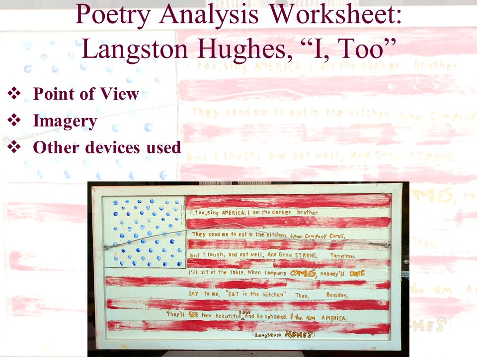 An Analysis Of I Too A Poem By Langston Hughes Term Paper Writing