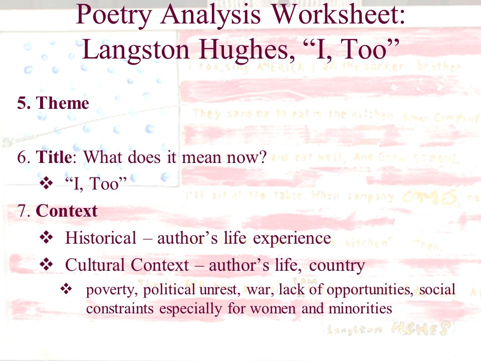 What Does Langston Hughes Poem I Too Analysis Homework Help