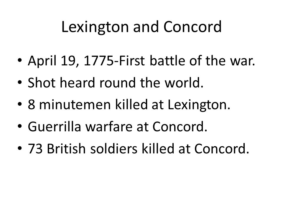 an overview of the battle of lexington and concord Collection history the major source for the images in this digital presentation-the  phelps stokes collection of american historical prints and early views of.