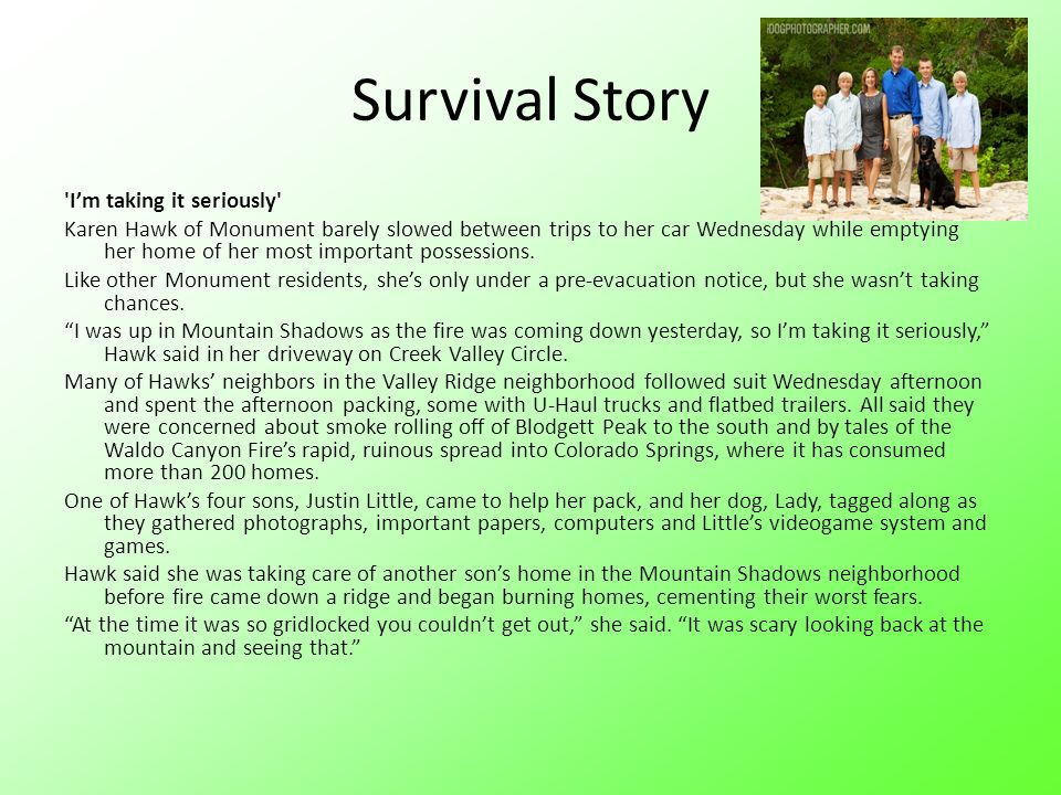 Survival Story I'm taking it seriously