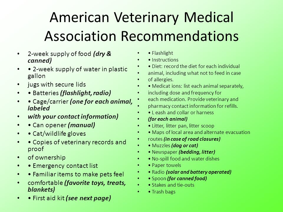 American Veterinary Medical Association Recommendations