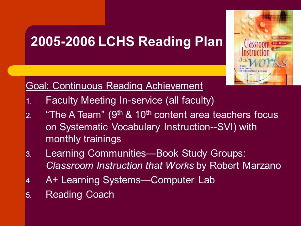 2005-2006 LCHS Reading Plan Goal: Continuous Reading Achievement
