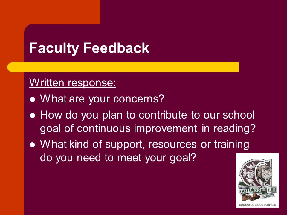 Faculty Feedback Written response: What are your concerns