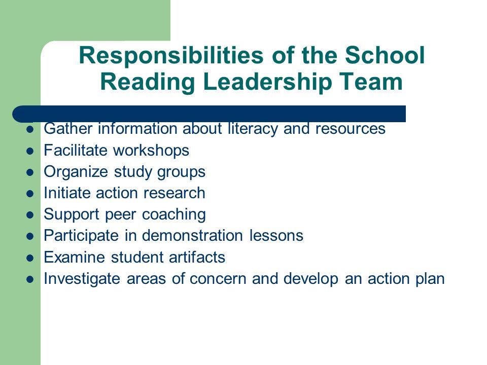 Responsibilities of the School Reading Leadership Team