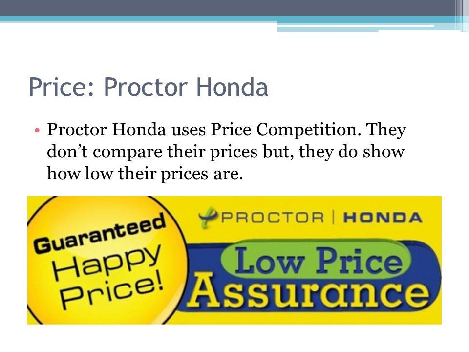 Price: Proctor Honda Proctor Honda uses Price Competition.