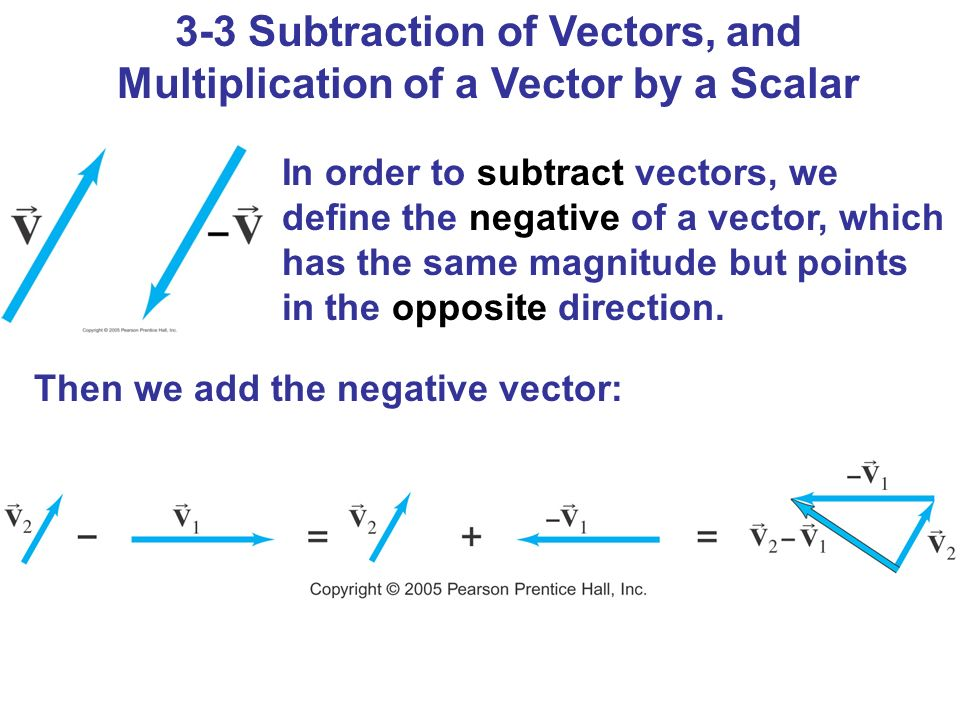 3-3 Subtraction of Vectors, and Multiplication of a Vector by a Scalar