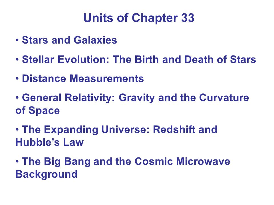Units of Chapter 33 Stars and Galaxies