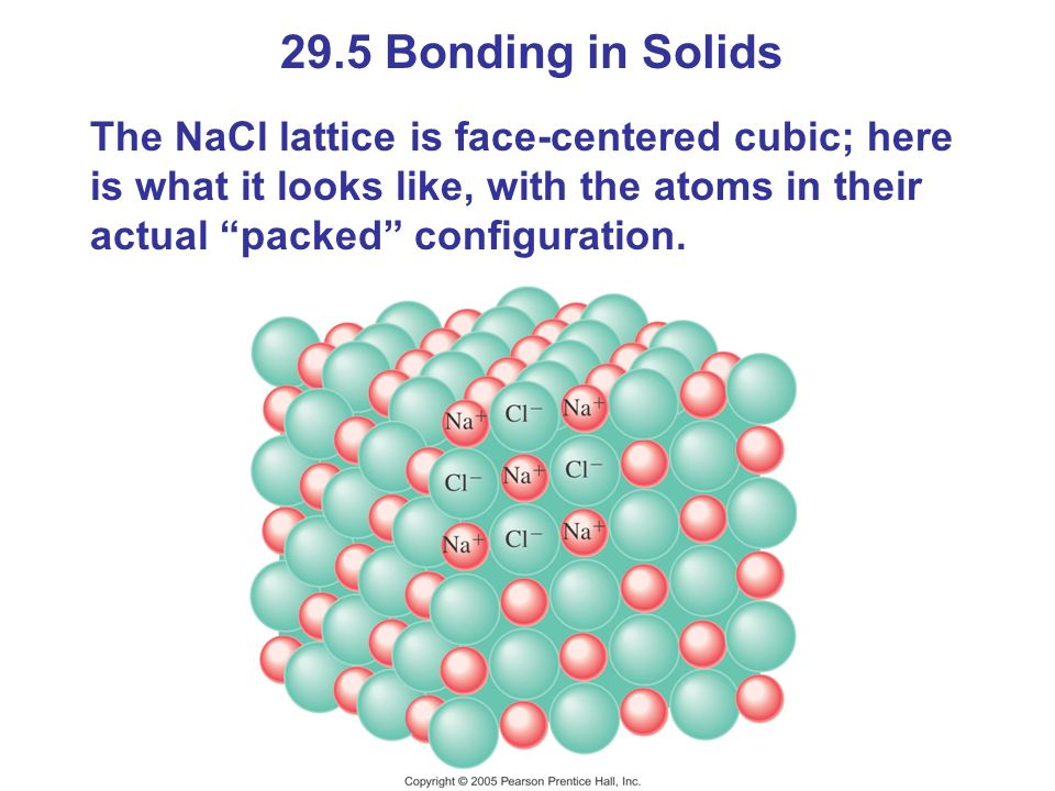 29.5 Bonding in Solids The NaCl lattice is face-centered cubic; here is what it looks like, with the atoms in their actual packed configuration.