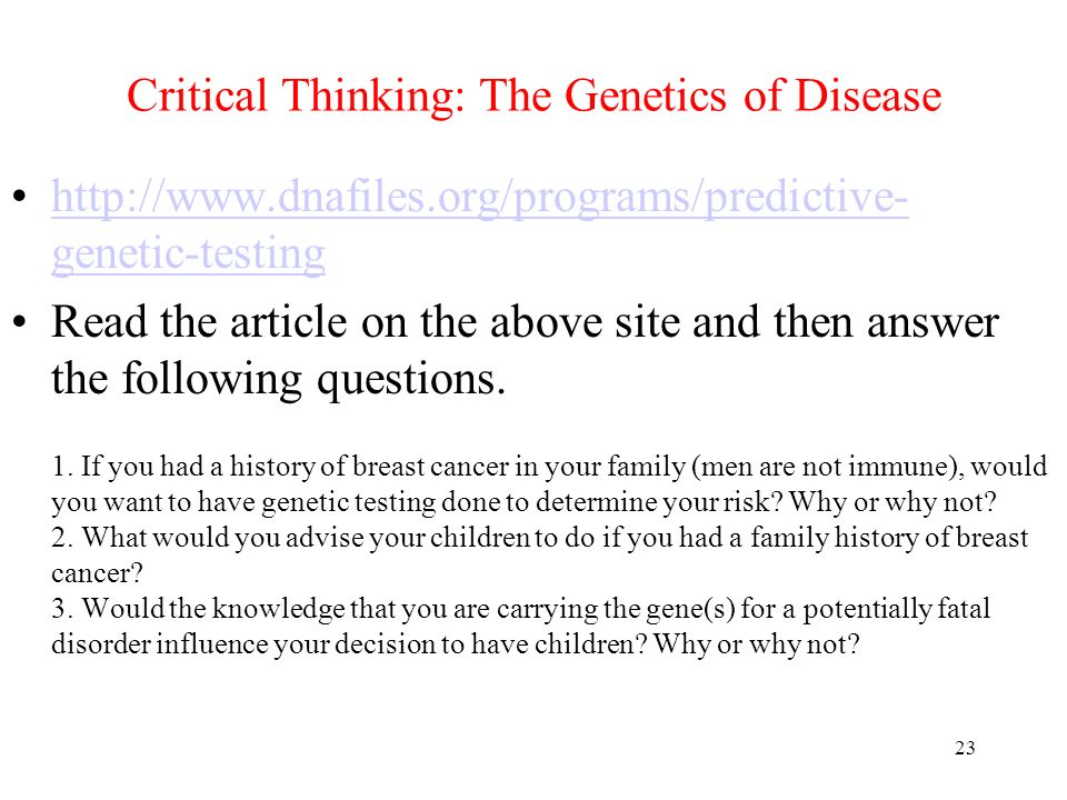 Critical Thinking: The Genetics of Disease