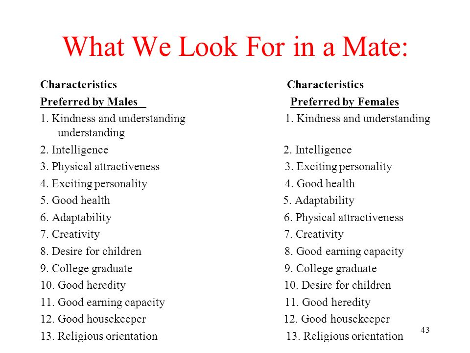 What We Look For in a Mate: