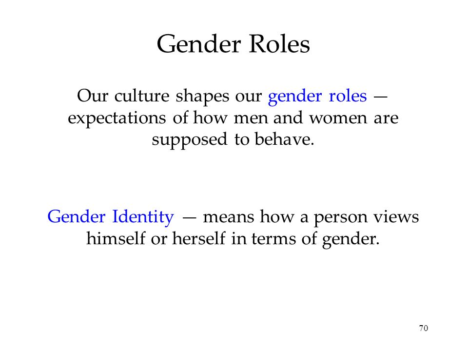 Gender Roles Our culture shapes our gender roles — expectations of how men and women are supposed to behave.