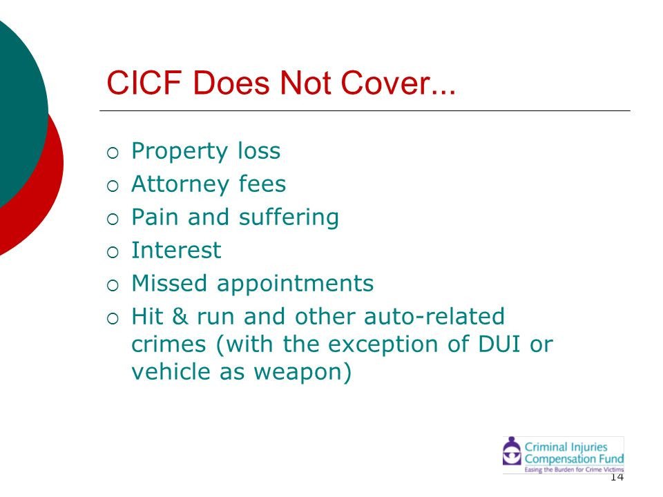 CICF Does Not Cover... Property loss Attorney fees Pain and suffering