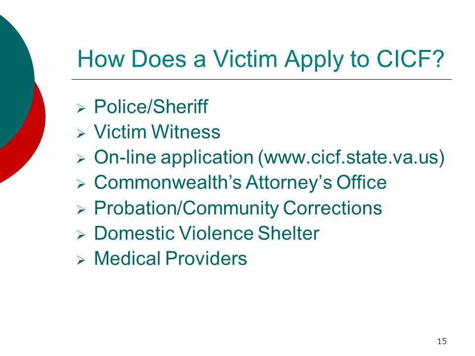 How Does a Victim Apply to CICF